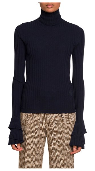 Chloe Wool Turtleneck Sweater in navy