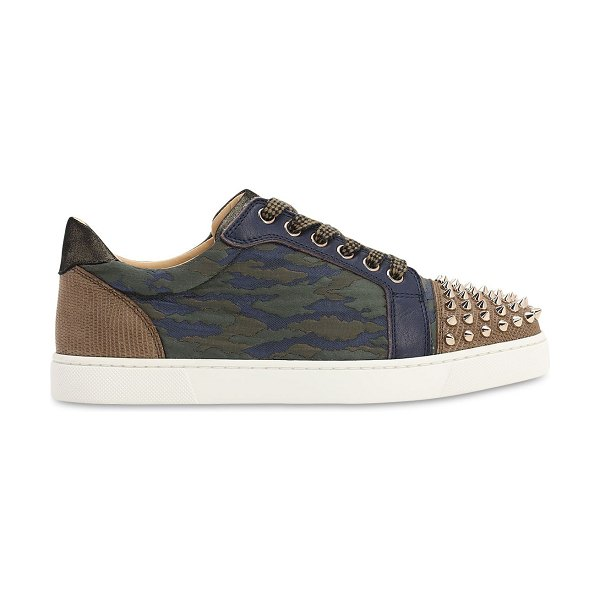 Christian Louboutin 20mm vieira spiked camouflage sneakers in blue,green
