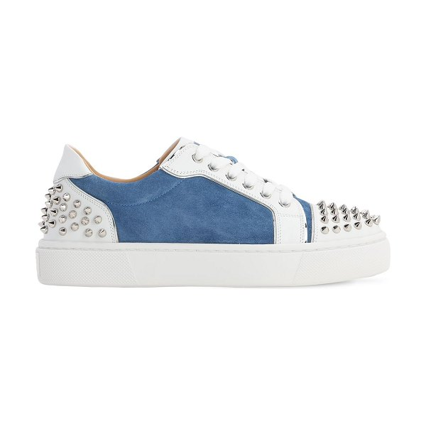 Christian Louboutin 35mm vierissima suede & leather sneakers in light blue