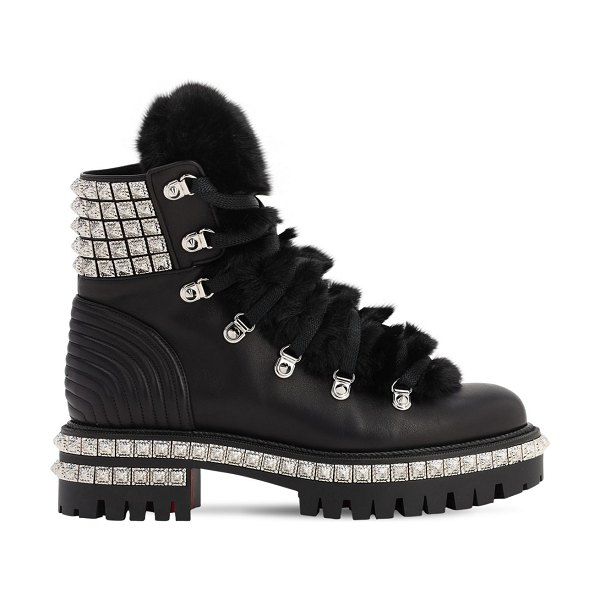 Christian Louboutin 40mm yeti leather boots in black,silver