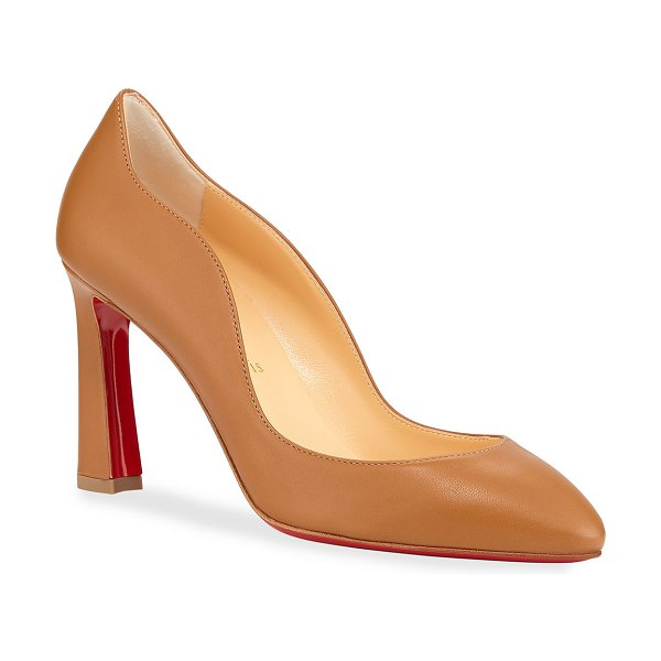 Christian Louboutin Agneska Scallop Leather Red Sole Pumps in camel