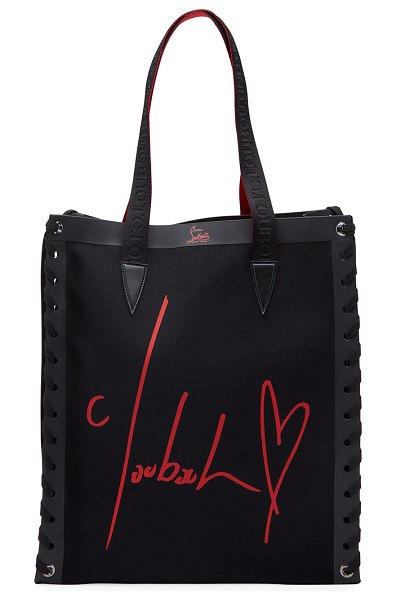 Christian Louboutin Cabalace Small Canvas Xian Tote Bag in black/red