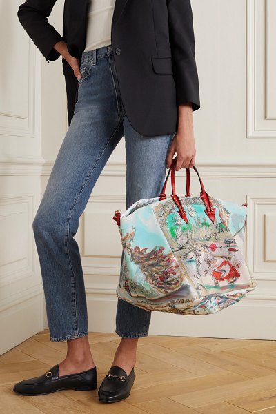 Christian Louboutin cabaraparis large embellished leather-trimmed printed canvas tote in red