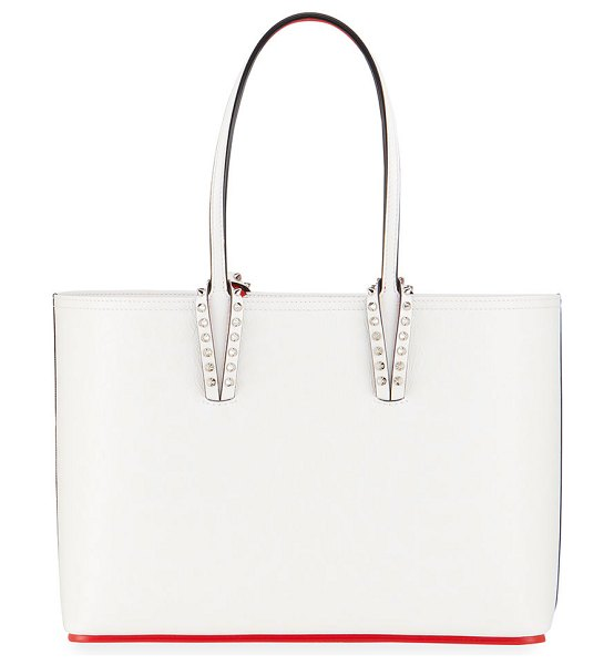 Christian Louboutin Cabata Small Calf Leopard 50s Red Sole Tote Bag in white