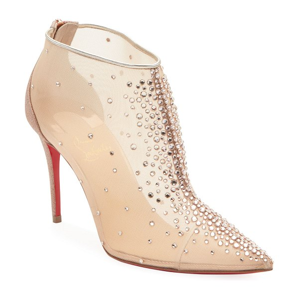 Christian Louboutin Contella Embellished Red Sole Booties in nude