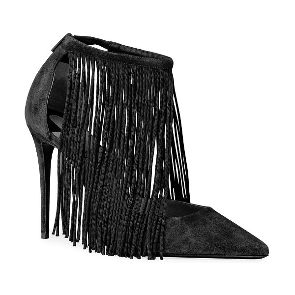 Christian Louboutin Courtain 100 Fringe Red Sole Pumps in black