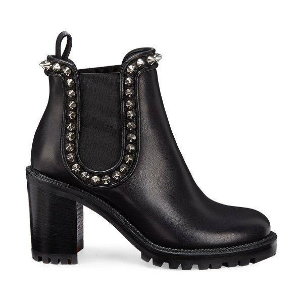 Christian Louboutin crapahutta 70 leather spike booties in black silver