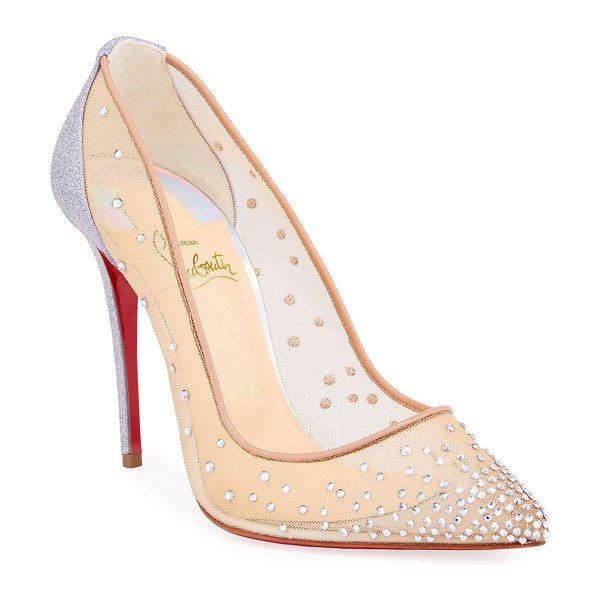 Christian Louboutin Follies Strass Red Sole Pumps in blue