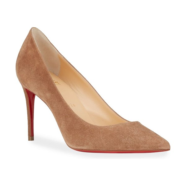 Christian Louboutin Kate 85mm Suede Red Sole Pumps in c626 fennec