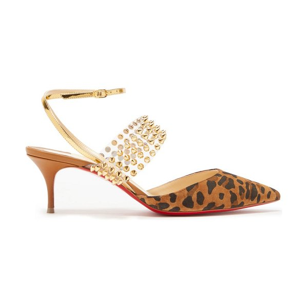 Christian Louboutin levita 55 studded leopard print suede pumps in leopard