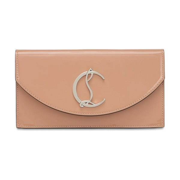 Christian Louboutin Loubi54 patent leather clutch in nude
