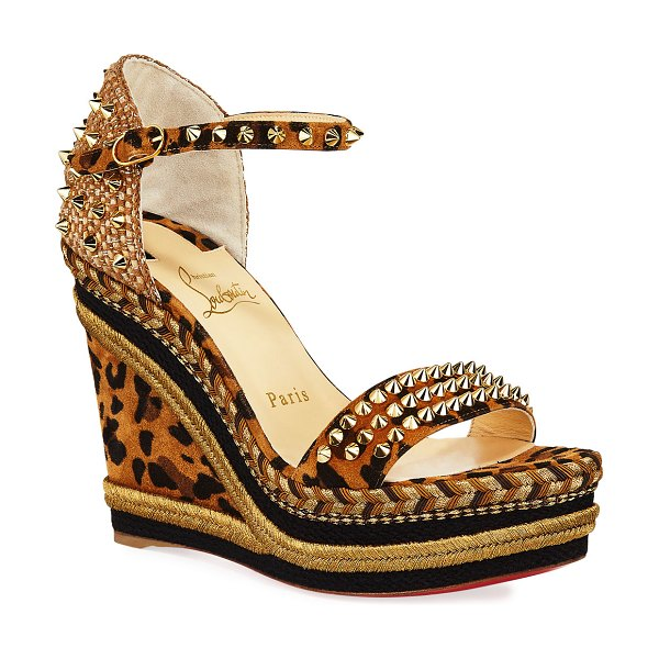 Christian Louboutin Mad Monica Leopard Red Sole Wedge Espadrilles in leopard