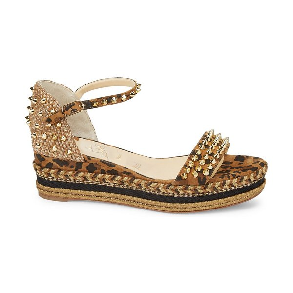 Christian Louboutin madmonica platform leopard-print leather wedge sandals in neutral