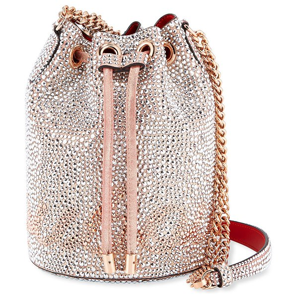 Christian Louboutin Marie Jane Crystal-Beaded Suede Bucket Bag in pink/silver