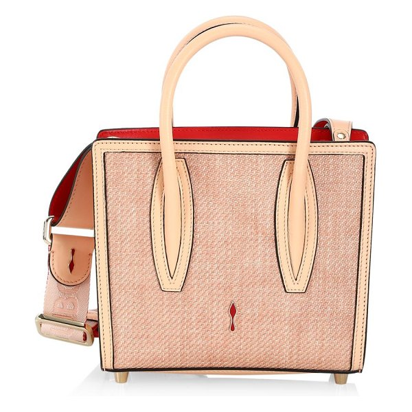 Christian Louboutin mini paloma leather-trimmed tweed tote in beige