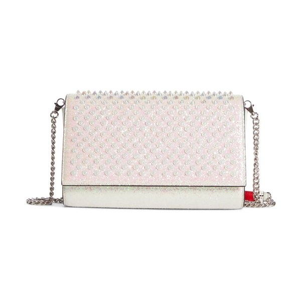 Christian Louboutin paloma glitter spike leather clutch in ab/ snow/ clear ab