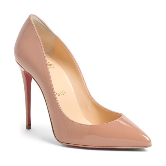 Christian Louboutin pigalle follies pointed toe pump in nude patent