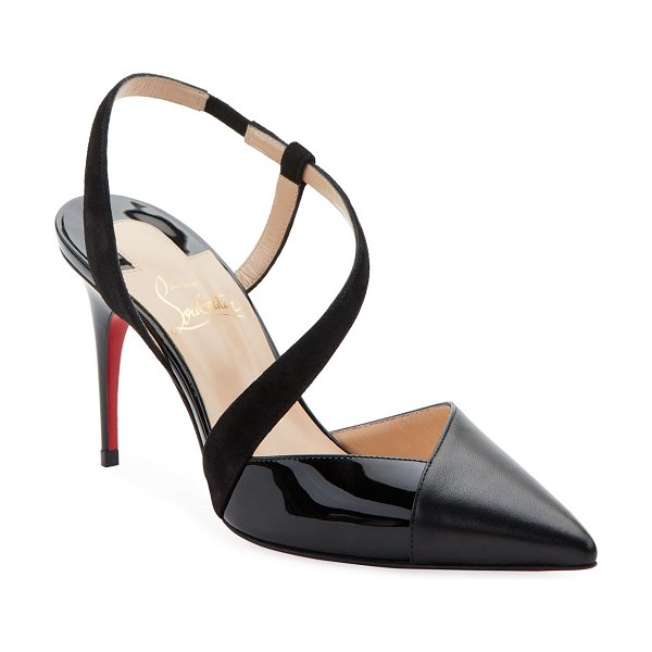 Christian Louboutin Platina Mixed Red Sole Pumps in black