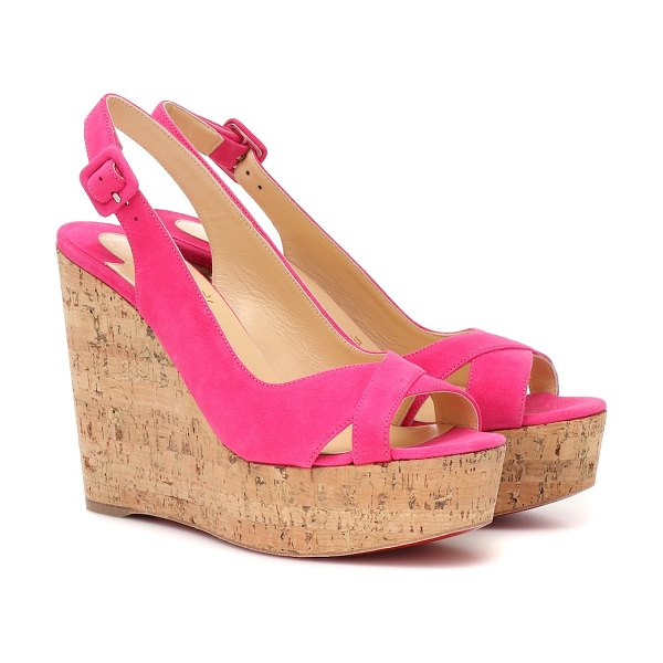 Christian Louboutin reine de liege 120 suede wedges in pink