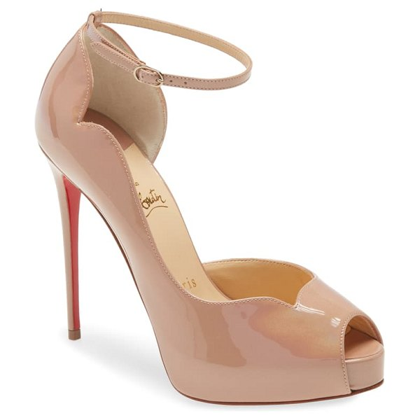 Christian Louboutin round chick peep toe pump in nude