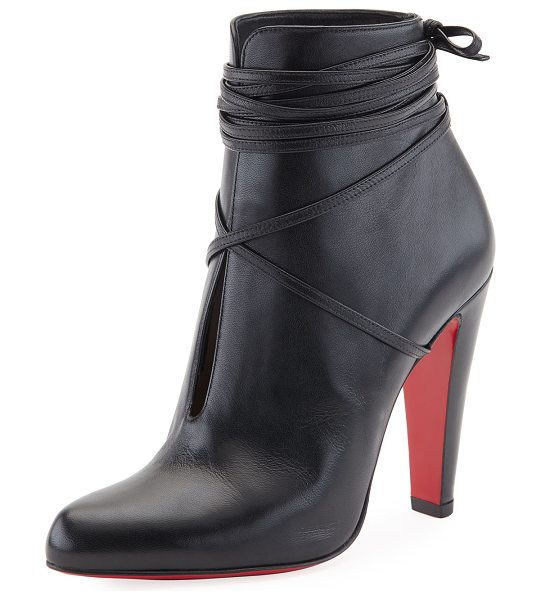 "CHRISTIAN LOUBOUTIN S.I.T. Rain Wrap Red Sole Bootie - Christian Louboutin bootie in shiny napa leather. 4""..."