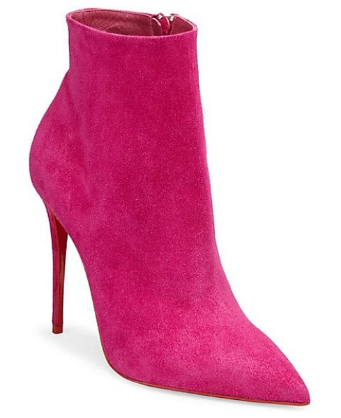 Christian Louboutin so kate 100 suede booties in pink - Bright booties in soft, velvety suede. Suede upper....