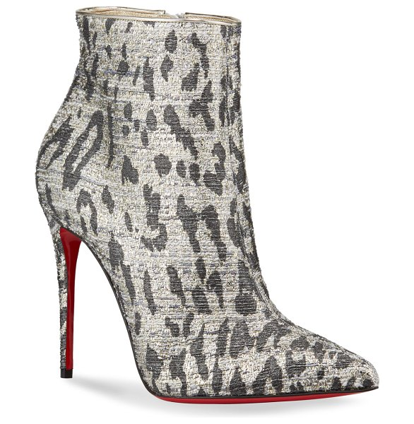 Christian Louboutin So Kate Metallic Leopard Red Sole Booties in black/gold