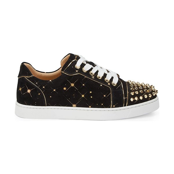 Christian Louboutin vieira spikes suede sneakers in black gold