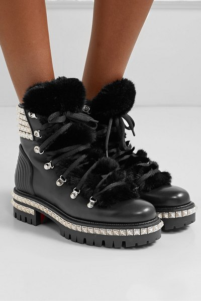 Christian Louboutin yeti donna shearling-trimmed studded leather ankle boots in black