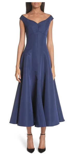 Christian Siriano off the shoulder v-neck a-line silk cocktail dress in navy - A tea-length silk dress is cut for a fitted bodice...