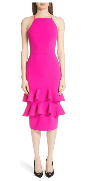 CHRISTIAN SIRIANO ruffle trim cocktail dress - Vibrant color plays across the halter-style bodice and...