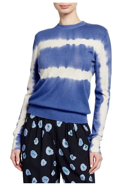 CHRISTIAN WIJNANTS Kam Tie-Dye Wool-Cashmere Crewneck Sweater in blue pattern