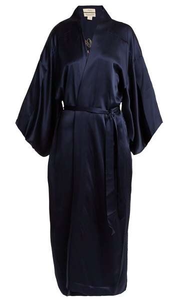 CHUFY embroidered silk kimono style jacket in navy