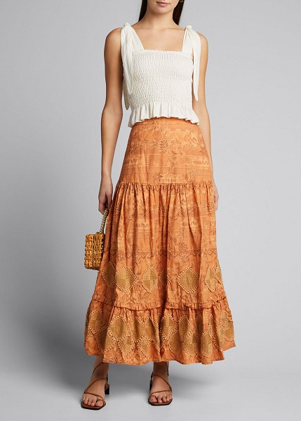 CHUFY Miski Tiered Tropical Print Maxi Skirt in tan