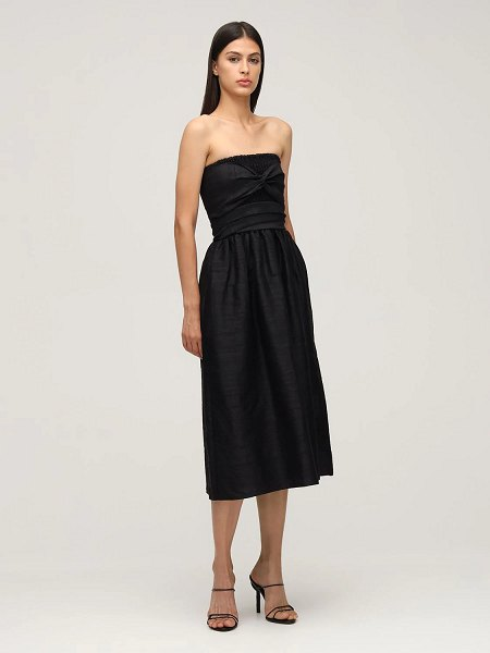 Ciao Lucia Gia strapless silk gauze midi dress in black