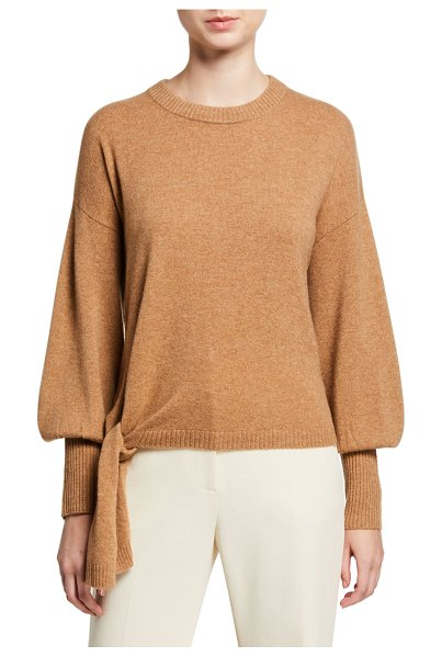 Cinq a Sept Clerisa Tie-Front Cashmere Sweater in brown