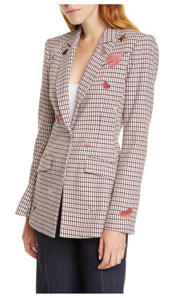 Cinq a Sept estelle check embroidered blazer in metallic/ multi