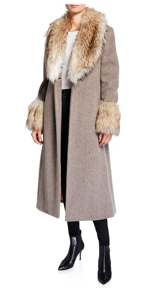 Cinq a Sept Irina Belted Coat with Faux Fur Trim in gray/white