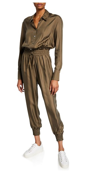 Cinq a Sept Joyce Long-Sleeve Button-Front Jogger Jumpsuit in olive