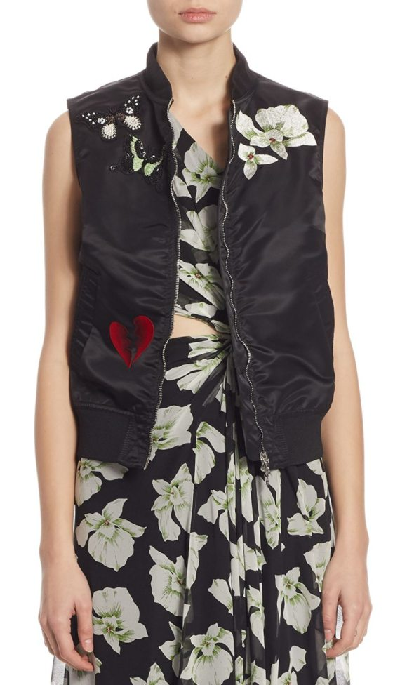 Cinq a Sept kingston embellished bomber vest in black - Bomber with whimsical embellishments exudes charm....