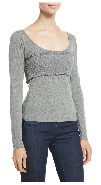 """Cinq a Sept Leandre Smocked Long-Sleeve Top in heather gray - Cinq Sept """"Leandre"""" top with smocked panel at chest...."""