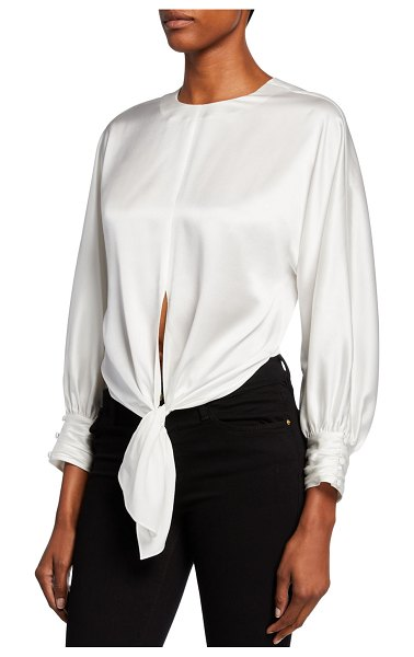 Cinq a Sept Lydia Self-Tie Silk Top in ivory