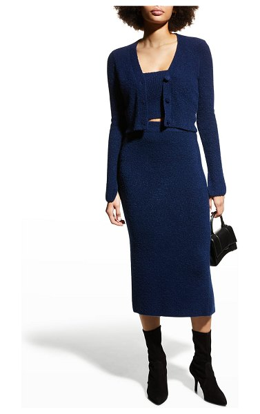 Cinq a Sept Rayna Cropped Slit-Cuff Cardigan in midnight blue