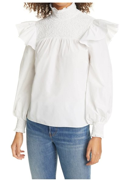 Cinq a Sept river smocked yoke top in ivory