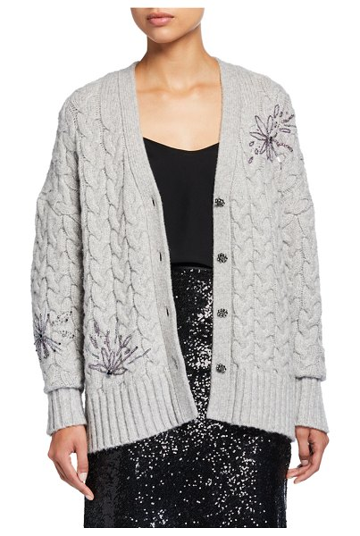 Cinq a Sept Victoria Embellished Button-Front Cable Cardigan in gray