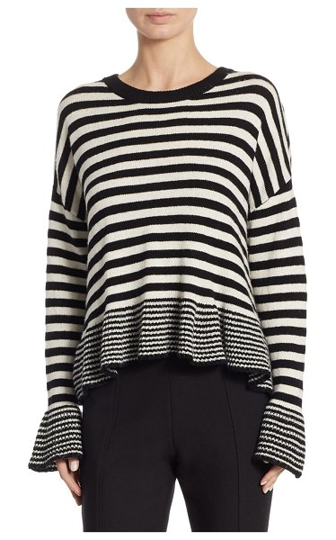 CINQ SEPT Seren Striped Sweater - Wool-blend sweater with allover stripe and ruffle...