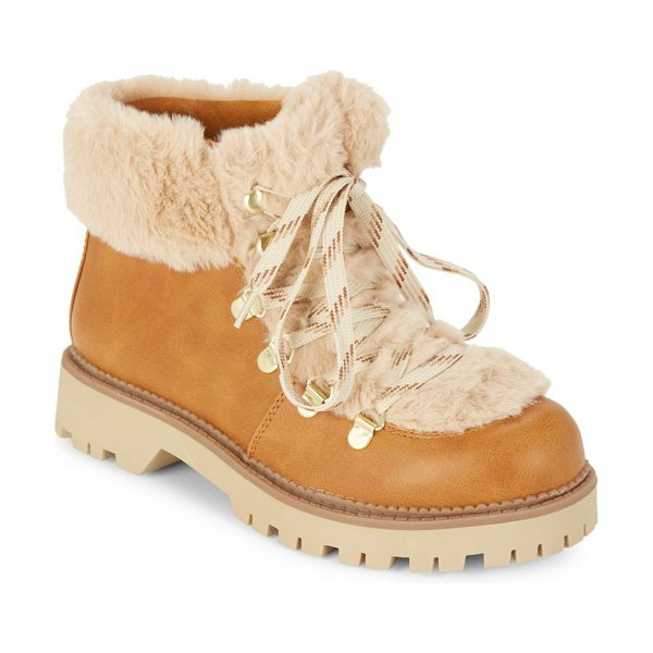 9eddba856c66f0 Circus by Sam Edelman Kilbourn Faux Fur Hiking Boots in butterscotch -  Ultra-plush faux