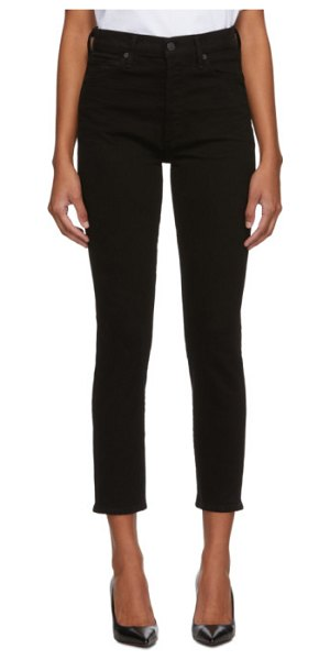 Citizens of Humanity black olivia high-rise slim ankle jeans in sueded blk