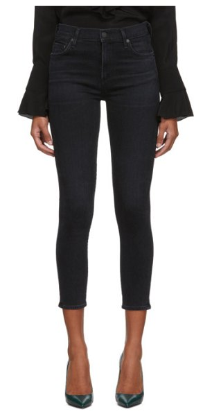 Citizens of Humanity black rocket crop mid-rise skinny jeans in thrill
