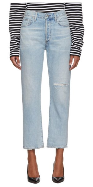Citizens of Humanity blue mckenzie curved straight jeans in blazingstar